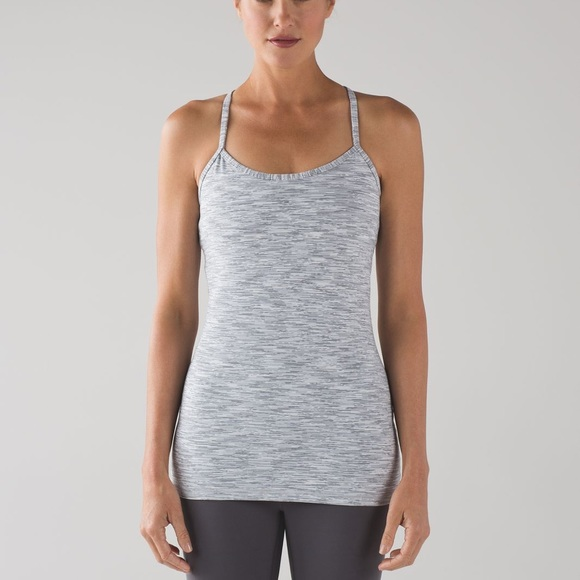 Lululemon power Y tank in size 6! Grey and white